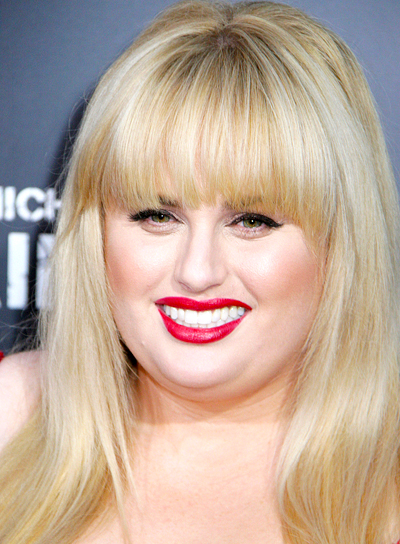Rebel Wilson's Long, Blonde, Chic Hairstyle with Bangs