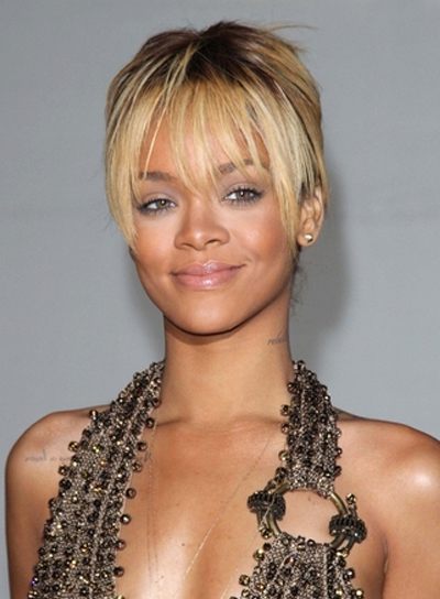 Rihanna Chic, Blonde Updo with Bangs