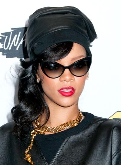 Rihanna's Funky, Wavy, Black, Updo Hairstyle