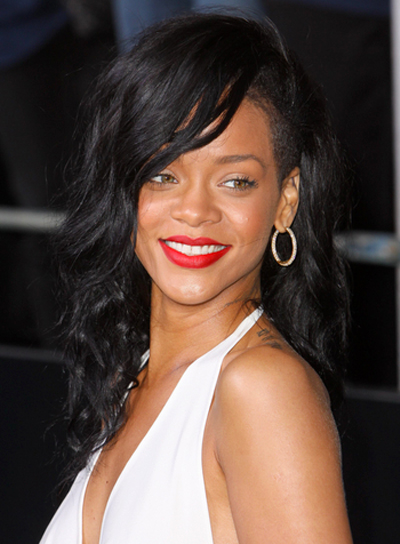 Rihanna's Long, Edgy, Party, Wavy Hairstyle
