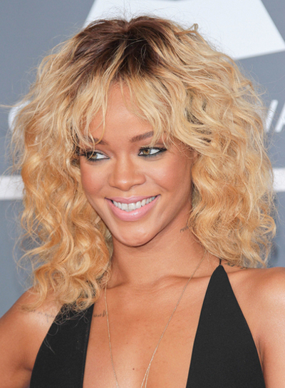Rihanna Medium, Curly, Chic, Blonde Hairstyle with Highlights
