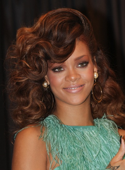 Rihanna Medium, Curly, Sophisticated, Red Hairstyle