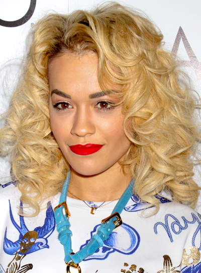 Rita Ora's Medium, Blonde, Curly, Party Hairstyle
