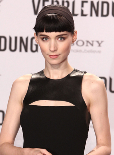 Rooney Mara Chic, Black Updo with Blunt Bangs