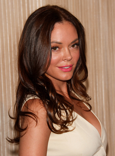 Rose McGowan Sexy, Curly, Brunette Hairstyle