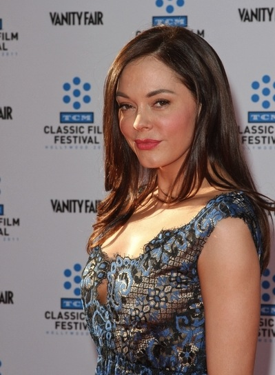 Rose McGowan Long, Sexy, Layered, Brunette Hairstyle