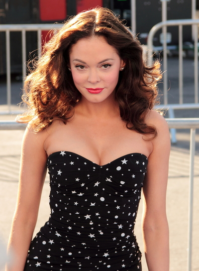 Rose McGowan Medium, Curly, Romantic, Brunette Hairstyle