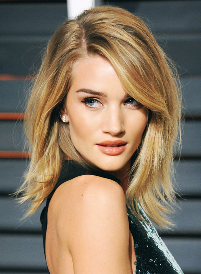 Rosie Huntington Whitely Medium, Straight, Blonde, Romantic Hairstyle
