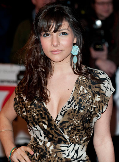 Roxanne Pallett Long, Curly, Brunette Half Updo with Bangs