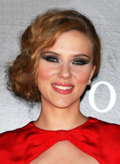 Scarlett Johansson Chic, Red, Formal Updo