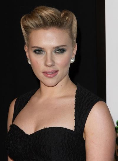 Scarlett Johansson Chic, Funky, Blonde Updo with Braids and Twists and Highlights