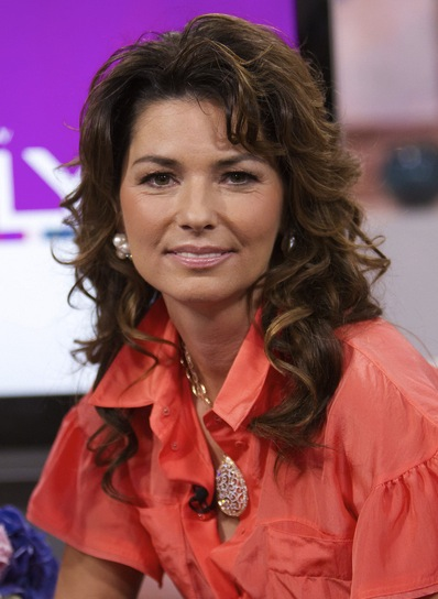 Shania Twain Curly, Sophisticated, Brunette Hairstyle