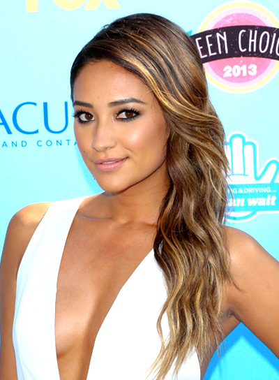 Shay Mitchell's Long, Brunette, Sexy Hairstyle with Highlights
