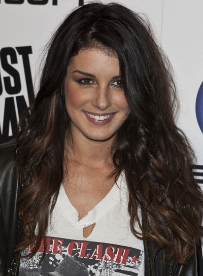Shenae Grimes Long, Edgy, Tousled, Curly, Brunette Hairstyle with Highlights