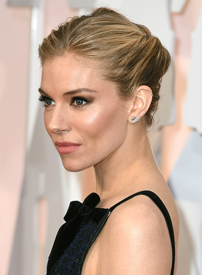 Sienna Miller Short, Blonde, Sophisticated Updo Hairstyle