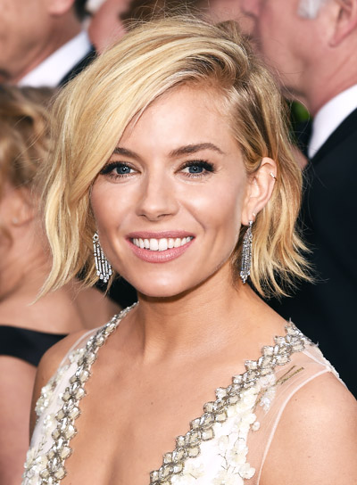 Sienna Miller with a Short, Blunt, Tousled, Blonde Hairstyle Pictures