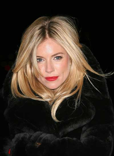 Sienna Miller Medium, Blonde, Sexy, Tousled Hairstyle