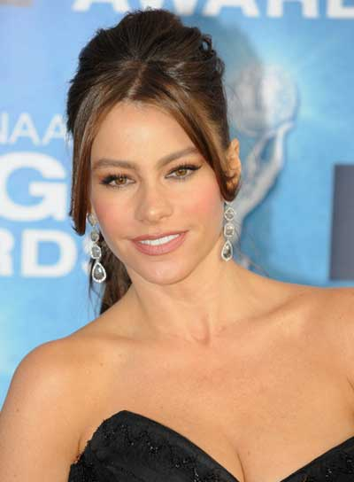 Sofia Vergara Long, Straight, Chic, Brunette Ponytail with Bangs