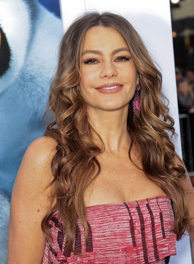 Sofia Vergara Long, Curly, Sexy, Sophisticated, Brunette Hairstyle