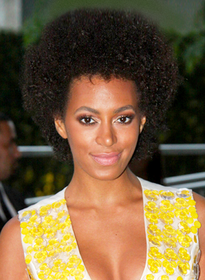 Solange Knowles' Thick, Brunette, Edgy, Short Hairstyle