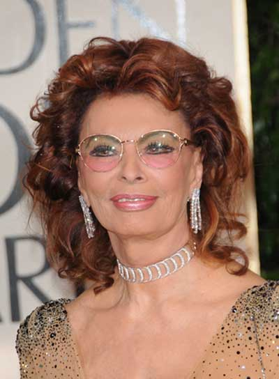 Sophia Loren Medium, Sophisticated, Curly, Red Hairstyle