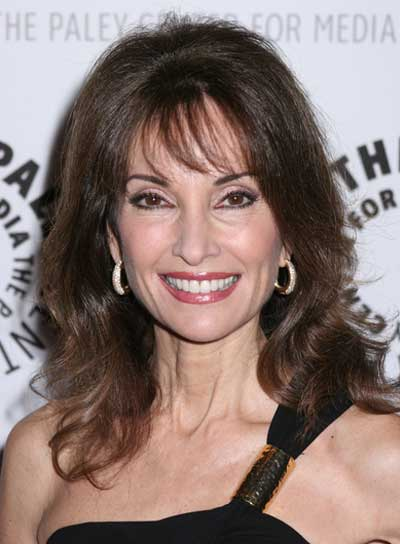 Susan Lucci Long, Sophisticated, Brunette Hairstyle with Bangs