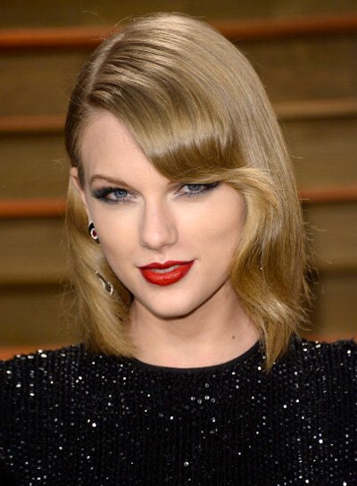 Taylor Swift Medium, Blonde, Chic Hairstyle with Bangs Pictures