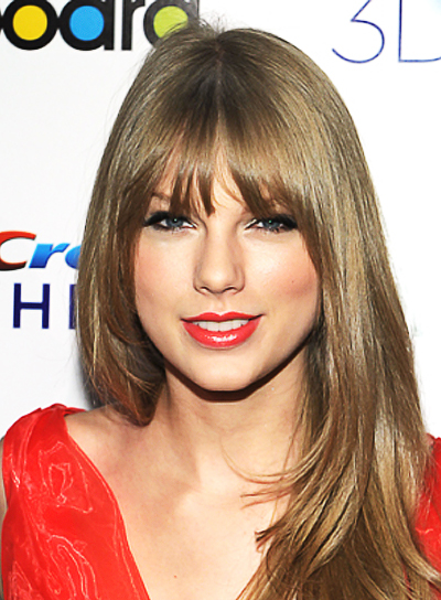Taylor Swift Long, Layered, Chic Hairstyle with Bangs