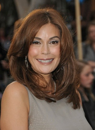 Teri Hatcher Layered, Straight, Sexy, Brunette Hairstyle