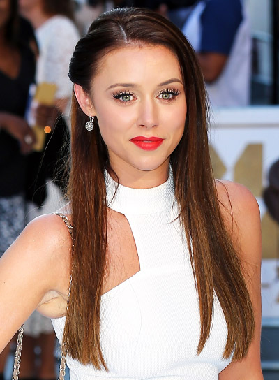 Una Foden's Long, Brunette, Straight, Sophisticated, Half Updo Hairstyle Pictures