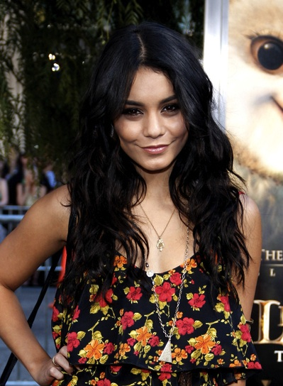 Vanessa Hudgens Long, Black, Tousled Hairstyle