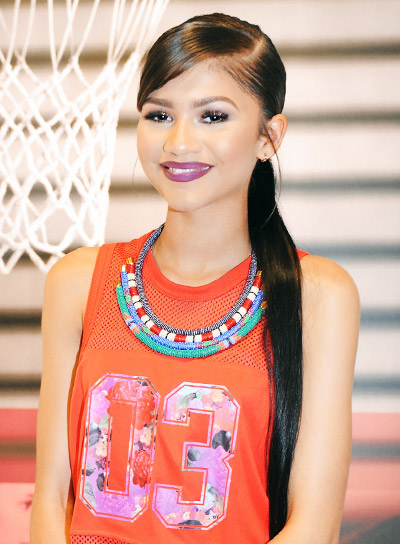 Zendaya's Long, Straight, Black, Party Ponytail Hairstyle