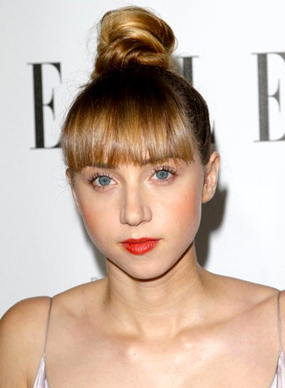 Zoe Kazan's Edgy, Chic, Updo Hairstyle with Bangs