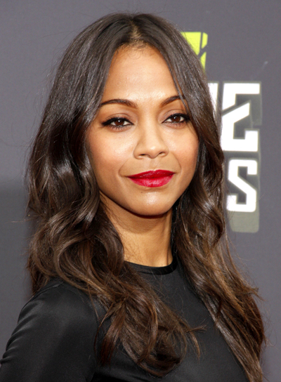 Zoe Saldana's Long, Brunette, Wavy, Party Hairstyle