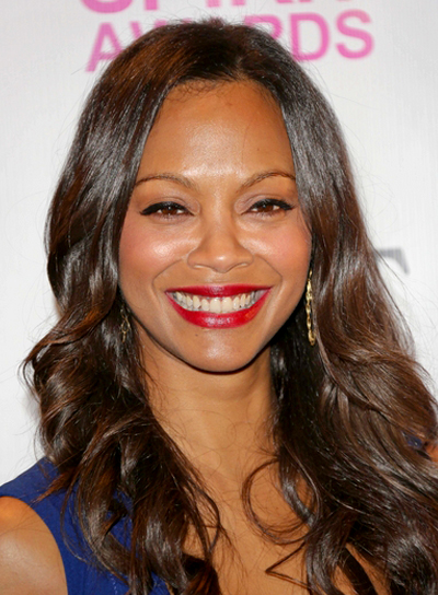 Zoe Saldana's Long, Brunette, Wavy, Romantic Hairstyle