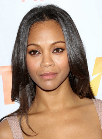 Zoe Saldana's Long, Chic, Romantic, Brunette Hairstyle