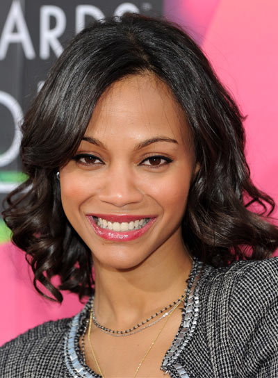 Zoe Saldana's Short, Curly, Romantic Hairstyle