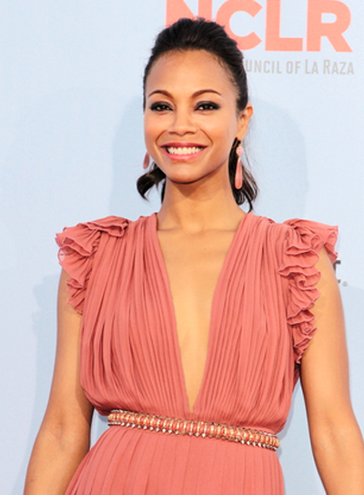 Zoe Saldana's, Wavy, Brunette, Party, Ponytail Hairstyle