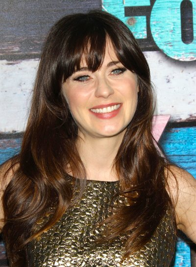 Zooey Deschanel's Long, Brunette, Romantic Hairstyle with Bangs