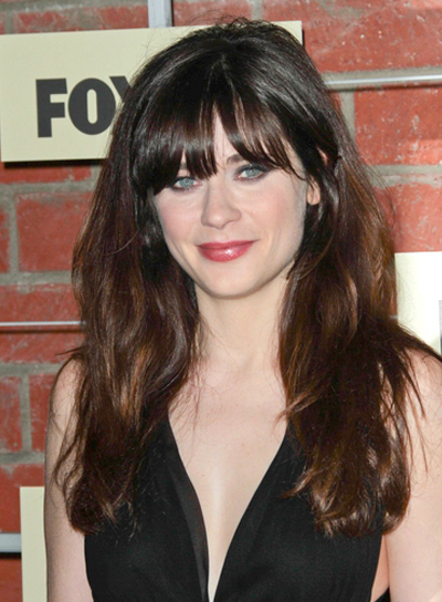 Zooey Deschanel's Long, Brunette, Tousled Hairstyle with Bangs