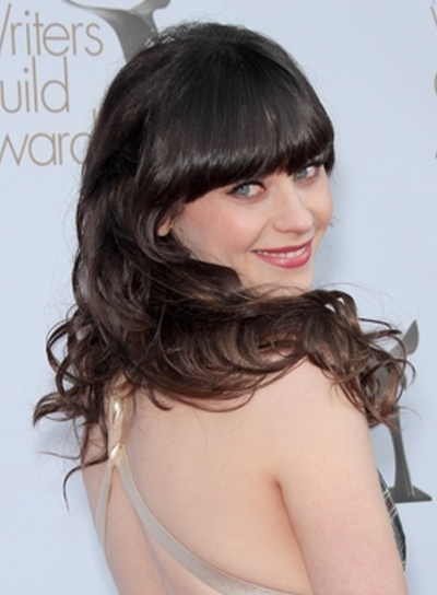 Zooey Deschanel Long, Curly, Tousled, Black Hairstyle with Bangs